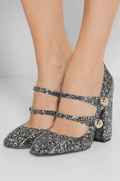 Heel measures approximately 100mm/ 4 inches Silver and black glittered leather Slips on Made in Italy