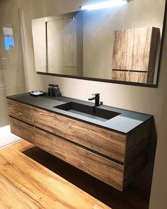 Swipe left to see more ⬅️ What is your thought about this bathroom design? - It's Saturday and we're back with nordic bathroom inspiration… Bathroom Vanity Designs, Modern Bathroom Design, Bathroom Interior Design, Modern Interior Design, Interior Decorating, Floating Bathroom Vanities, Bathroom Sinks, Bathroom Styling, Bathroom Ideas
