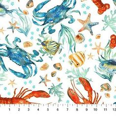 lobster and Crab Fabric / Ocean Tides Fabric / by SewWhatQuiltShop