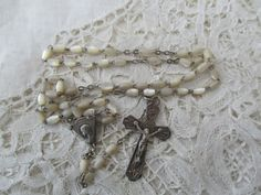 Real silver rosary Mother of pearl 1920 by Nkempantiques on Etsy