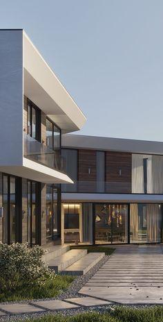Дизайн интерьеров на заказ от Studia-54 Modern Villa Design, Modern Exterior House Designs, Modern Architecture House, Exterior Design, Architecture Design, Dream House Interior, Luxury Homes Dream Houses, Dream Home Design, House Outside Design