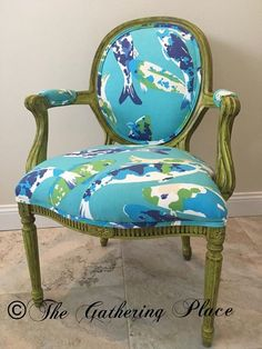 """""""Koi Joy"""" www.facebook.com/1thegatheringplace Chaise Chair, Chair Upholstery, Upholstered Furniture, Painted Furniture, Accent Furniture, Cool Chairs, Side Chairs, Fancy Chair, Floral Chair"""