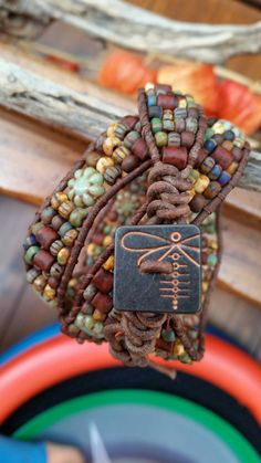 Items similar to Triple wrap leather bracelet/Hand loomed/matte aged czech picasso beads/glass cactus flowers/copper square dragonfly button/Fun! on Etsy Gypsy Jewelry, Beaded Jewelry, Beaded Bracelets, Wrap Bracelets, Crochet Bracelet, Pandora Bracelets, Jewlery, Yoga Armband, Bracelet Making