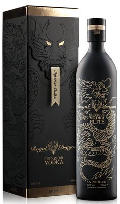 Packaging Graphic inspiration Royal dragon elite vodka: 25 original and innovative packaging to disc Innovative Packaging, Luxury Packaging, Brand Packaging, Alcohol Bottles, Liquor Bottles, Vodka, Label Design, Box Design, Package Design