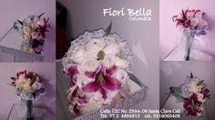 #Bouquet por #FioriBellaColombia de forma redonda, elaborado con rosas blancas y combinado con Lirios Magenta, el toque Chic lo aporta unas pequeñas pedrerías. #BouqueNovia, #Bodas, #BodasCali, #RamoNovia, #NoviasCali, #Novias