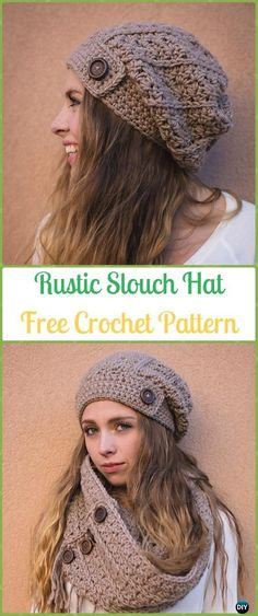 Crochet Rustic Slouch Hat Free Patterns -Crochet Slouchy Beanie Hat Free Patterns