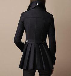 Black Pleated Military Coat by Burberry (via seaghostsoaring dot tumblr dot com)