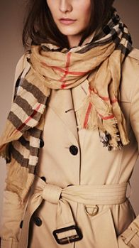 Heritage Check Crinkled Cashmere Scarf | Burberry
