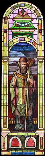 Large Vintage Saint Patrick Church Stained Glass Window DESCRIPTION: Large vintage Romanesque church stained glass window depicting Saint Patrick.