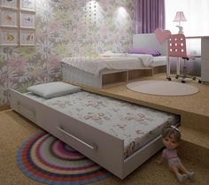 33 ideas bedroom storage ideas organizations craft rooms - Image 17 of 25 Small Space Interior Design, Kids Room Design, Interior Design Living Room, Kids Bedroom, Diy Bedroom Decor, Bedroom Storage, Kid Beds, Girl Room, Small Spaces