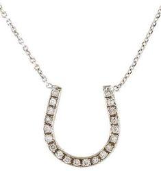14K Diamond Horseshoe Necklace Horseshoe Necklace, White Gold, Pendant Necklace, Chain, Diamond, Jewelry, Jewlery, Jewerly, Necklaces