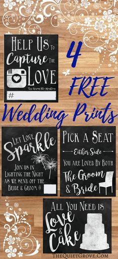 Enjoy these 4 Free Wedding printables (available in two different versions) for Seating, Photos, Cake, and Sending the Bride & Groom off!