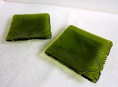 Pair of Fern Green Leaf Imprint Fused Glass Dishes by bprdesigns, $50.00