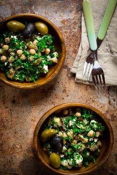 Mediterranean eggplant and chickpea salad with feta and parsley | Healthy Seasonal Recipes