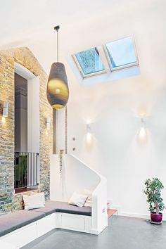 High ceiling of the modern extension gives it a spacious appeal