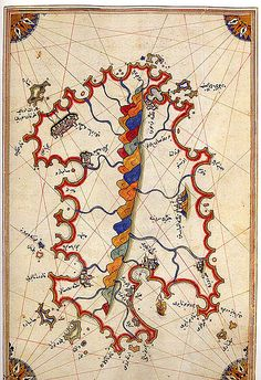 The island of Sardinia.   Piri Reis was a 16th century Ottoman Admiral famous for his maps and charts collected in his Kitab-ı Bahriye (Book of Navigation), a book which contains detailed information on navigation as well as extremely accurate charts describing the important ports and cities of the Mediterranean Sea.