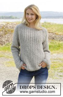 "Knitted DROPS jumper with raglan and false English rib in 2 strands ""Brushed Alpaca Silk"". Size S-XXXL ~ DROPS Design"