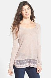 Frenchi® Fuzzy Lace Hem Pullover (Juniors)