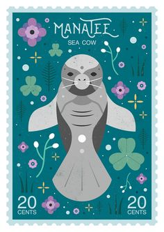 Carly Watts Art & Illustration: Manatee Stamp
