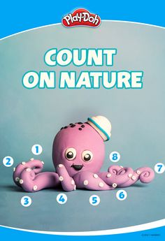 You can help your kids count! Pick up your Play-Doh compound to explore tons of ways to practice counting by creating objects and animals. It could be a tree with 5 branches, an 8-legged octopus like our friend here, or a fish with 4 fins.