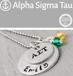 This charming hand stamped Alpha Sigma Tau necklace is the perfect gift for your big or lil sister this school year. It would make the perfect gift for yourself, too! #AET, #AlphaSigmaTau, #AST, #Sorority, #SororitySisters, #SororityJewelry