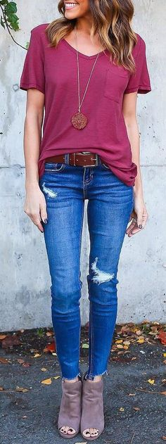 #cute #outfits Purple  Top // Ripped Skinny Jeans // Suede Ankle Boots