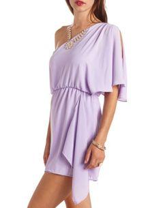 Asymmetrical One Shoulder Chiffon Dress: Charlotte Russe