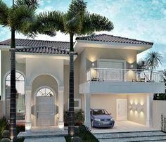 Fachadas de Sobrados - Veja 110 Modelos Modernos e Lindos Classic House Design, Dream Home Design, Home Design Plans, Modern House Design, Bungalow House Design, House Front Design, Dream House Exterior, Dream House Plans, Modern Entrance