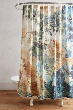 Judarn Shower Curtain - could also be used as a regular curtain Bathroom Colors, Anthropologie Home, Bathroom Upgrades, Tropical Bathroom, Curtains, Colorful Shower Curtain, College Apartment Decor, Dream Decor, Bathroom Decor Accessories