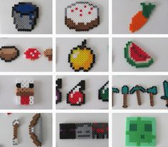 Perler beads make for an exciting afternoon of crafting. 31 DIY Birthday Party Ideas That Will Blow Your Minecraft Hama Beads Minecraft, Perler Beads, Fuse Beads, Minecraft Party, Minecraft Crafts, Minecraft Stuff, Minecraft Skins, Minecraft Buildings, Minecraft Creations