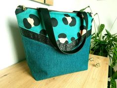 Leo, Boutique Etsy, Lunch Box, Creations, Collection, Green, Cotton Canvas, Animal Print Style, Black Faux Leather