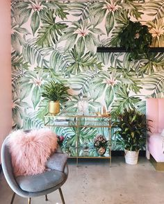 Light Banana Leaves Removable Wallpaper, Banana leaf, Watercolor wall mural – Peel and Stick, Monstera leaf – foliage, Tropical - Home Page Tropical Bedrooms, Tropical Bathroom, Bathroom Green, Watercolor Walls, Watercolor Wallpaper, Deco Floral, Diy Planters, Planter Ideas, Beauty Room