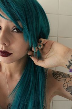 Teal hair - nice and thick with extensions!