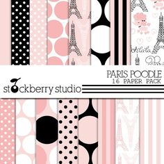Paris Poodle Digital Scrapbooking Paper Pack