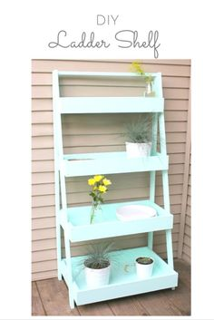DIY Shelves and Do It Yourself Shelving Ideas - DIY Ladder Shelf - Easy Step by Step Shelf Projects for Bedroom, Bathroom, Closet, Wall, Kitchen and Apartment. Floating Units, Rustic Pallet Looks and Simple Storage Plans #diy #diydecor #homeimprovement #shelves Ladder Shelf Diy, Ladder Storage, Diy Regal, Diy Plant Stand, Plant Stands, Backyard Storage, Diy Porch, Diy Patio, Budget Patio