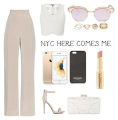 """NYC HERE COMES ME"" by thisismegiusy on Polyvore featuring MaxMara, Lipsy, BCBGMAXAZRIA, Le Specs, Balmain and Napoleon Perdis"