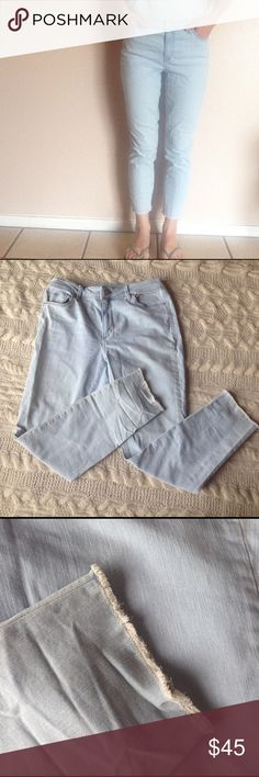 """Ann Taylor LOFT Jeans These jeans from LOFT are the Curvy Skinny Ankle fit. They are a high waist fit with a raw hem. The inseam is 25"""" and the rise is 10"""". The light wash is perfect for spring! These jeans are in excellent condition. LOFT Jeans Ankle & Cropped"""