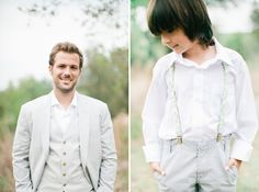 Beautiful bohemian wedding with groom and ring bearer in suspenders on the grounds at Vista West Ranch in Dripping Springs, Texas in the Hill Country.