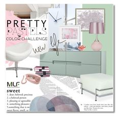 """""""New life in pastel"""" by undici ❤ liked on Polyvore featuring interior, interiors, interior design, home, home decor, interior decorating, CB2, Vintage Print Gallery, Universal Lighting and Decor and Crosley"""
