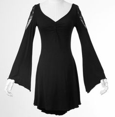 Punk-Rave-PQ-022-Black-Butterfly-Gothic-Short-Dress-Witch-Top-Long-Ruffle-Sleeve
