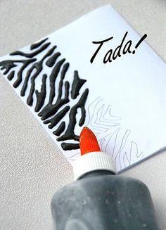 el uso de maquillaje viejo (sombra de ojos / rubor) para pegamento de color para proyectos de arte! Genial idea!