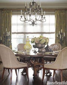 The dining room of this Maryland house is a textbook Barry Dixon design with  naturalistic textures and shapes. Niermann Weeks Avignon chandelier; Swaim dining chairs in Bergamo's Siegfried fabric; Barcelona table by Panache Designs. See more of this home.