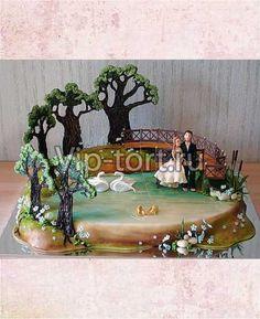 """Свадебный торт """"Озеро в лесу. Рыбалка"""""""