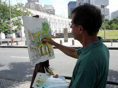 Pintando nos Arcos da Lapa. João Barcelos. Rio de Janeiro, Brasil.