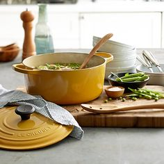 Le Creuset is a classic French cookware brand. The first Le Creuset foundry opened in 1925 and specialized in cast-iron cookware. Today, every piece of Le Creuset cast iron still passes through the hands of 15 skilled craftsmen in France.