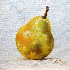 Pear Still Life Oiginal Oil Painting Miniature 5x5 Fruit Kitchen Daily Painting #Realism