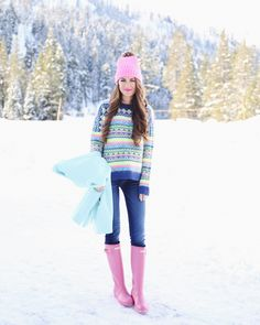 J Crew Pastels and hunter boots