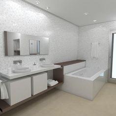 Baño diseñado por Fábrica de Arquitectura para una vivienda unifamiliar en Sevilla. Tanto los materiales como los aparatos sanitarios son de Porcelanosa. Corner Bathtub, Bathroom Ideas, Gadgets, Sevilla, Architecture, Interiors, Decorating Bathrooms
