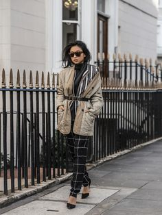 Wearing: Isabel Marant Étoile Cotton-blend jacket and Quilted linen-blend coat - Maurie & Eve Gravity Top – Vince Windowpane-print silk trousers – Reiss Dante Perforation Belt – Kurt Geiger Bond Heels – Pared Eyewear Sunglasses  photos by Shini Park