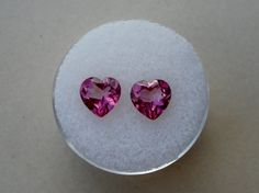 Pink topaz heart gem pair 7mm by pinnaclediamonds on Etsy